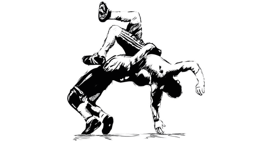 Drawing of to wreslers in a take down.
